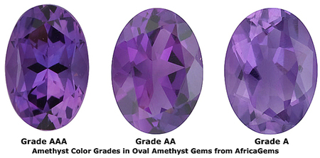 Checkerboard Oval Genuine Amethyst in Grade AA