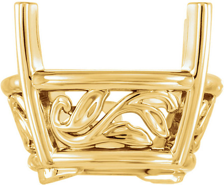Classic 14kt Gold 4-Prong Laurel Scroll Setting for Antique Square Shape Gemstone Sized 8.00 mm to 12.00 mm