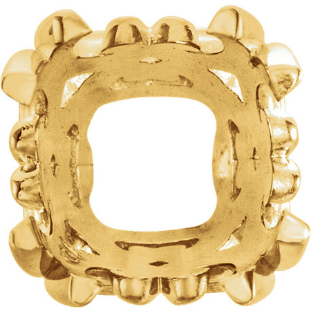 Classic 14kt Gold 4-Prong Scroll Setting for Antique Square Gemstone Sized 4.00 mm to 12.00 mm