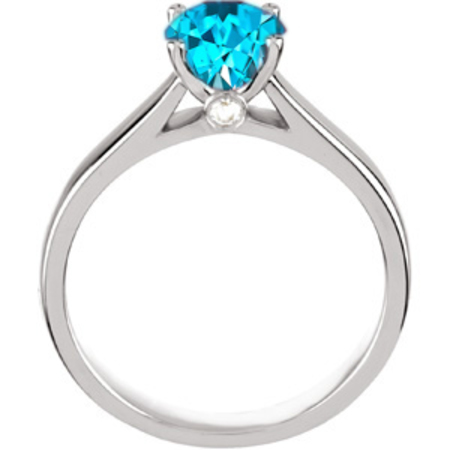 Classic & Chic 4-Prong Round Solitaire Genuine Blue Zircon Engagement Ring - Diamond Accents at Base of Prongs - SOLD