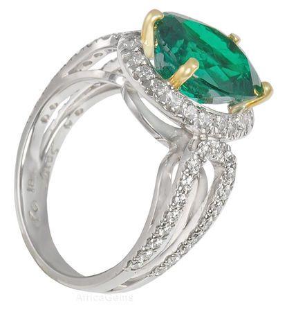Classic Emerald & Diamond Custom Ring in 2 tone 18 karat gold - Diamond Horseshoe Band - SOLD