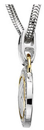 Contemporary 1/3ct Two Tone Sterling Silver and 14k Yellow Gold Oval Pendant With A Diamond Frame - FREE Chain