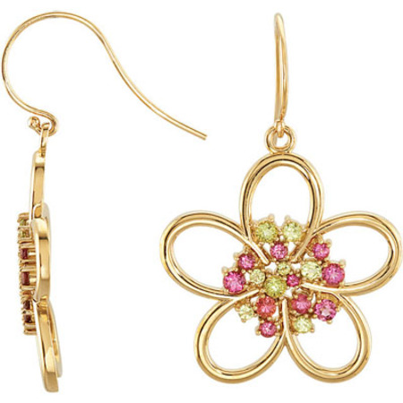 Contemporary Floral Design Wire Back Dangle Earrings With Pink Tourmaline and Peridot Cluster in Center - Metal Type Options