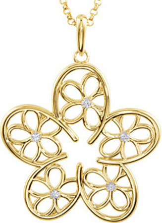 Cute and Feminine Open Style Flower Pendant With 1.70 mm 1/10ctDiamond Accents for SALE - Metal Type Options - FREE Chain Included With Pendant