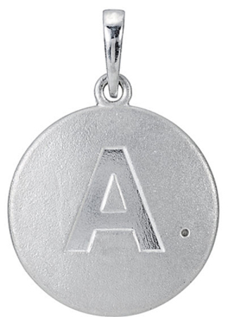 Cute Sterling Silver Block Initial Disc Pendant With .005 ct 1.00 mm Diamond Accents - Choose Any Letter - Free Chain Included