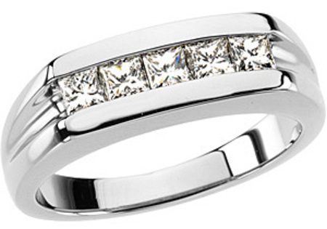 Dazzling 0.85 Carat Total Weight Platinum Gent's Diamond Ring - 5 Square Channel Set Diamond