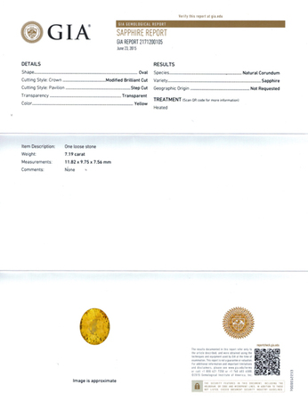 Deal on GIA Yellow Sapphire Gemstone in Oval Cut, Intense Yellow Color in 11.82 x 9.75 mm, 7.19 Carats - With GIA Certificate
