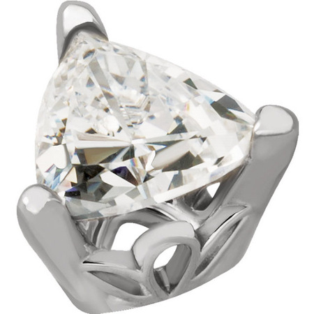Decorative 14kt Gold 3-Prong Scroll Setting for Trillion Shape Gemstone Size 3.00 mm to 9.00 mm