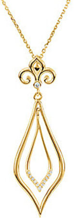 Delicate Fleur De Lis Decorative Dangle Pendant With .05ct .8-1.7mm Diamond Accents - Metal Type Options