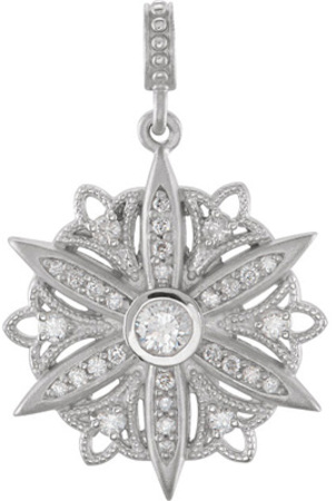Exquisite Medallion Style Decorative Dangle Pendant With 31 Sparkling Diamond Accents 1/3ct - Metal Type Options - FREE Chain Included With Pendant