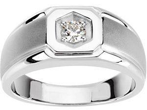 Eye-catching 0.25 Carat Total Weight Gents 4.10 mm Diamond Ring set in 14 karat White gold