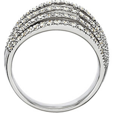 Fantastic 3/4ct 7 Band Diamond Studded Ring in 14k White Gold for SALE - SOLD