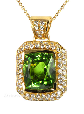 Fantastic Gem Peridot And Diamond Pave Pendant by Andrew Sarosi - FREE Chain - SOLD