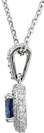 Fine 14k White Gold Genuine .7ct 5mm Blue Sapphire Entourage Pendant - 1/4 ct Diamond Accents - FREE Chain