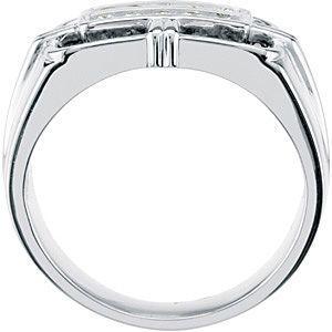 Flattering 0.75 Carat Total Weight Men's Black & White 2.10 mm Diamond Ring set in 14 karat White gold