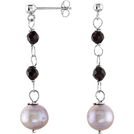 Fun Dangly Sterling Silver Fashion Earrings With Onyx Beads & Silver Grey Freshwater Cultured Pearls - SOLD