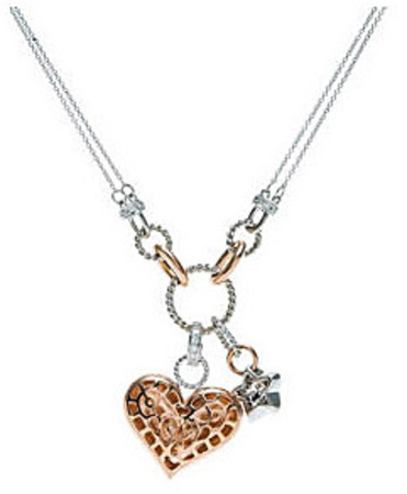 Girly 1/2ct 2-Tone Heart and Star Charm Necklace in 14k White and Rose Gold