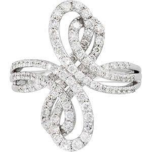 Glamorous 1ct Triple Band Diamond Studded Figure Eight Style 14k White Gold Ring