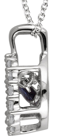 Glamorous .32ct 4mm Round Blue Sapphire 14k White Gold Pendant With Open Diamond Halo Frame - FREE Chain