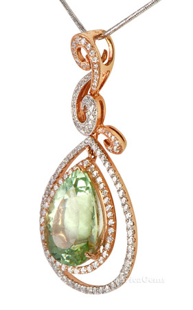 Gorgeous 10 carat + GEM Mint Green Tourmaline set with Pave Diamonds Pendant by Andrew Sarosi - SOLD