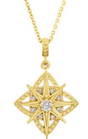 Gorgeous Bursting Design Pendant With .17ctDiamond Accents - Metal Type Options - FREE Chain Included With Pendant