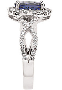 Gorgeous Most Popular 1.25ct 8x6mm Oval Cut Tanzanite & Diamond Ring - Dazzling Twisted Diamond Band