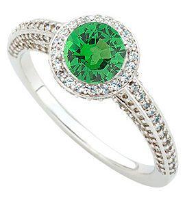 Gorgeous Round Cut .8ct 5.5mm Tsavorite Garnet GEM Grade Mounted in Heavy 1.45 carat Diamond Ring