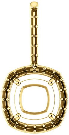 Halo Accented Pendant Mounting for Cushion Shape Centergem Sized 5.00 mm to 10.00 mm - Customize Metal, Accents or Gem Type