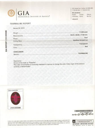 Incredible Huge Rubellite Tourmaline Gemstone, Very Red Extraordinary Gem in 35.32 x 26.68 mm, 112.68 carats with GIA Certificate