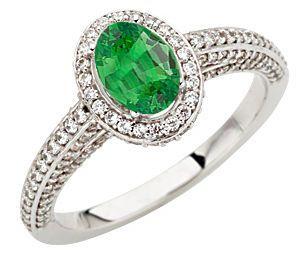 Intricate Diamond Pave Ring, 1.50 carats Diamond set with Genuine .8ct Tsavorite Garnet GEM 7x5mm Oval Cut