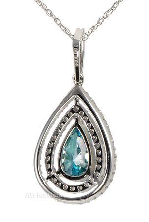 Irradiated Blue Diamond set with Micro Pave Diamond Pendant  - SOLD