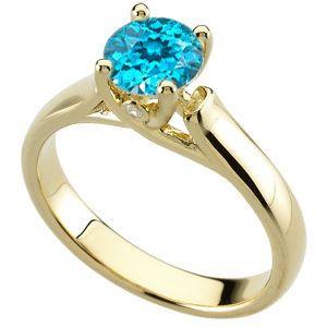 Irresistable Blue Zircon Solitaire Engagement Ring - Bezel Set Diamond Accents - SOLD