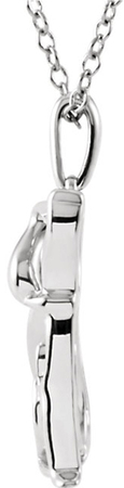 Irresistible Dog Outline Pendant in Sterling Silver - .06 ct tw Diamond Accents on Tail - FREE Chain