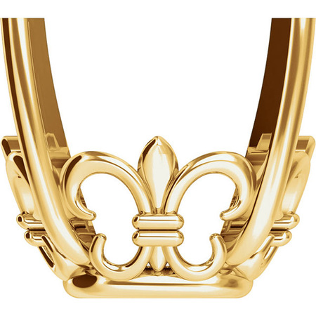 Lovely 14kt Gold 4-Prong Fleur-de-lis Setting for Antique Square Shape Gemstone Sized 6.00 mm to 12.00 mm