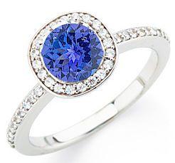 Most Popular Diamond Pave Dark Intense 1 CARAT GEM 6.5mm Round Tanzanite Ring in White Gold on SALE