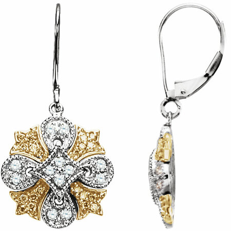 Eye Catchy Natural Yellow & White Diamonds Lever Back Earrings