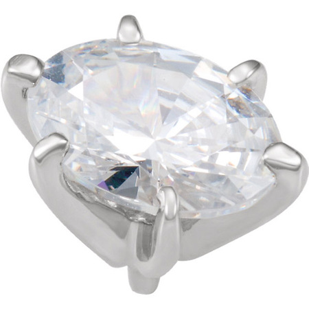 Nice Looking 14kt White Gold 6-Prong Peg Setting for Oval Gemstones Sized 4.00 x 2.50 mm to 12.00 x 10.00 mm