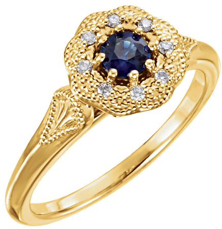 Ornate Milgrain Detail 0.38ct Blue Sapphire Ring in 14kt Gold With Diamond Accents - Metal Type Options