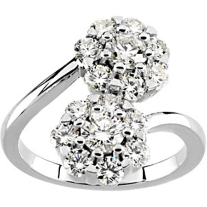 Outstanding 2 Carat Total Weight Diamond Cluster Ring set in 14 karat White Gold - SOLD