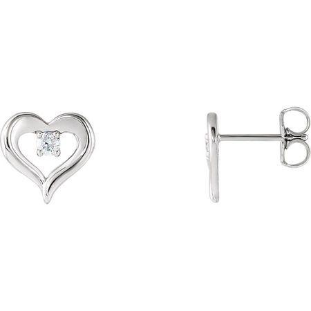 Chic Platinum 0.10 Carat Total Weight Diamond Heart Stud Earrings