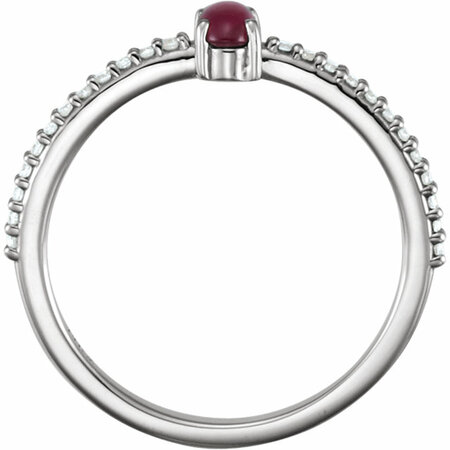 Platinum 5x3mm Oval Cabochon Pink Tourmaline & 1/8 Carat Total Weight Diamond Ring