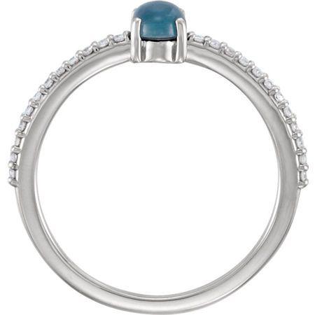 Platinum 6x4mm Oval Cabochon London Blue Topaz & 1/8 Carat Total Weight Diamond Ring