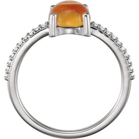 Platinum 7mm Round Cabochon Citrine & 1/10 Carat Total Weight Diamond Ring