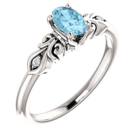 Perfect Gift Idea in Platinum Aquamarine & .02 Carat Total Weight Diamond Ring