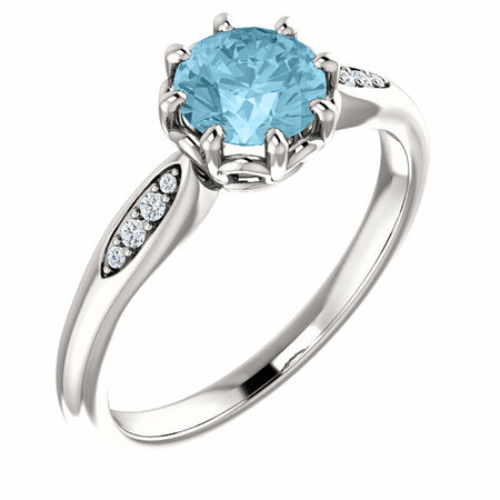 Wonderful Platinum Aquamarine & .04 Carat Total Weight Diamond Ring
