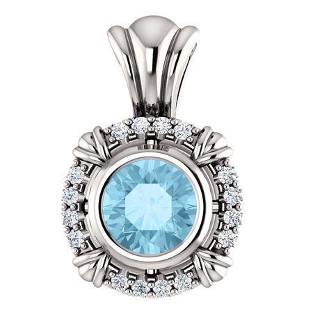 Eye Catchy Platinum Aquamarine & .08 Carat Total Weight Diamond Pendant