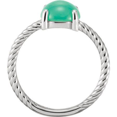 Platinum Chrysophrase Cabochon Ring