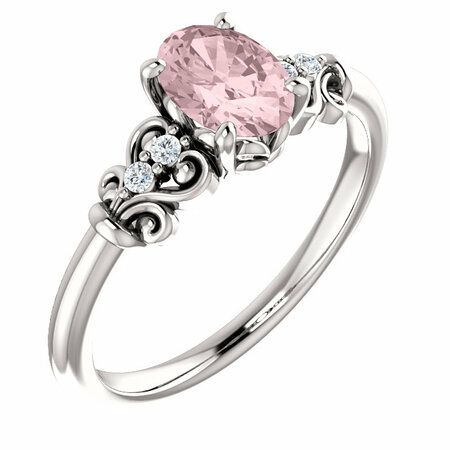 Fine Quality Platinum Morganite & .04 Carat Total Weight Diamond Ring