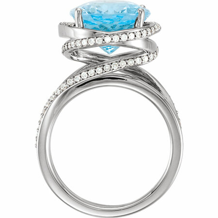 Platinum Swiss Blue Topaz & 1/2 CTW Diamond Spiral Ring