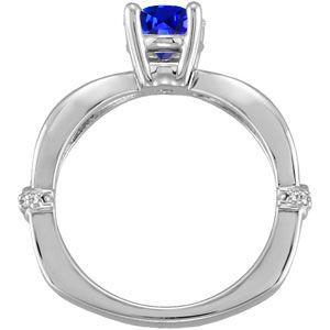 Precious 1 carat 6mm Deep Blue Sapphire Solitaire Engagement Ring - Dazzling Diamond Accents